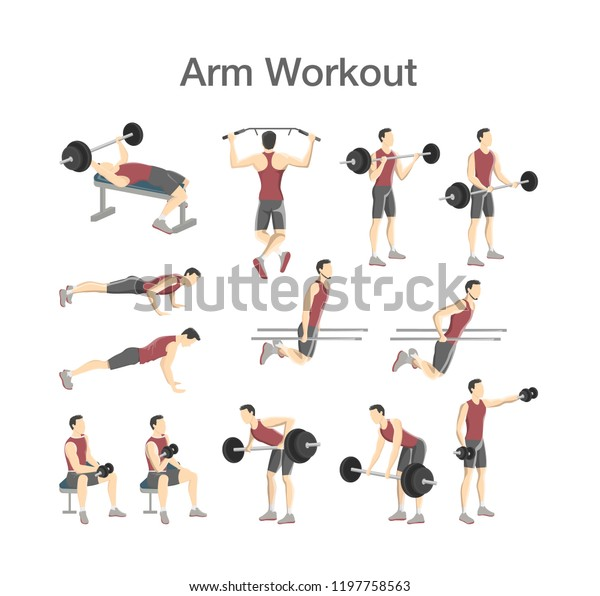 Arm Workout Set Men Dumbbell Barbell Stock Vector (Royalty Free