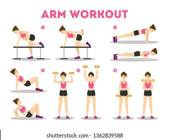 Arm workout for woman. Collection of exercise for slim and strong arms. Idea of healthy and active lifestyle. Sport and muscle building. Isolated vector illustration in cartoon style