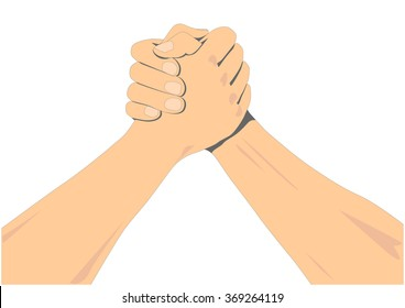 arm wrestle hands challenge vector illustration logo icon