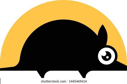 Armadillo black silhouette vector icon