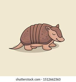 Armadillo Cartoon Isolated Cute Animal