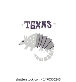 Armadillo flat hand drawn vector illustration. Texas animal symbol with black lettering. Wildlife, zoo mammal isolated cartoon clipart. South America wild fauna doodle drawing on white background