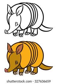 Armadillo hand drawn vector illustration - for children coloring book