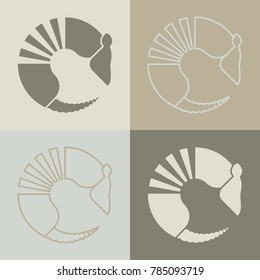Armadillo icon with outline and fill variants