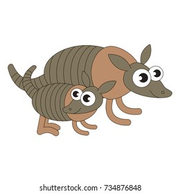 Armadillo Mom and baby cartoon. Outlined illustration with thin line black stroke