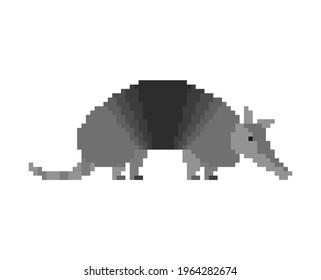 Armadillo pixel art. Animal armor-clad 8 bit
