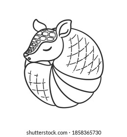 Armadillo sleeping and rolled up into a ball cartoon outline vector illustration. Cute animal character design, coloring page for kids.