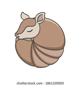 Armadillo sleeping and rolled up into a ball cartoon vector illustration simple version. Cute animal character design for kids.