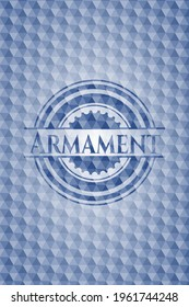 Armament blue badge with geometric pattern. Vector Illustration. Detailed.