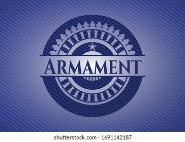 Armament jean or denim emblem or badge background. Vector Illustration. Detailed.