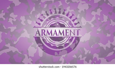 Armament pink and purple camo emblem. Vector Illustration. Detailed.
