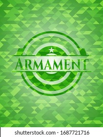 Armament realistic green mosaic emblem. Vector Illustration. Detailed.