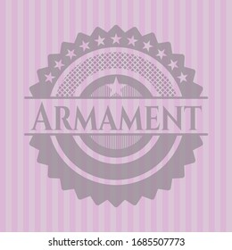 Armament realistic pink emblem. Vector Illustration. Detailed.