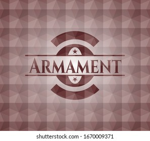 Armament red seamless emblem with geometric pattern.