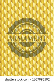 Armament shiny golden badge. Scales pattern. Vector Illustration. Detailed.
