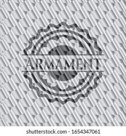 Armament silver emblem. Scales pattern. Vector Illustration. Detailed.