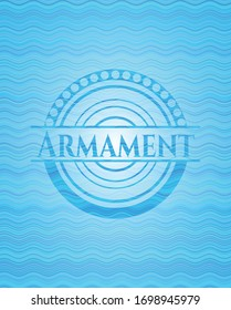 Armament sky blue water style emblem. Vector Illustration. Detailed.