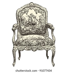 """armchair 18th century style - Vintage engraved illustration - """"Le Mobilier"""" Ed.Edouard Rouveyre  in 1915 France"""