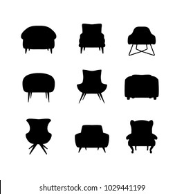 Armchair black silhouette cartoon illustration vector set. Collection of comfortable chairs lounge for interior design isolated on white background. Different models of settee icons.