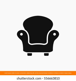 armchair,  chair, design furniture  icon. One of set web icons