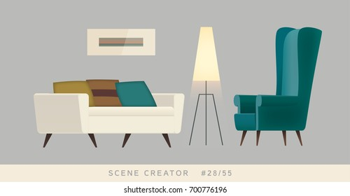Armchair, couch, lamp, painting. Isolated vector objects. Scene creator set.