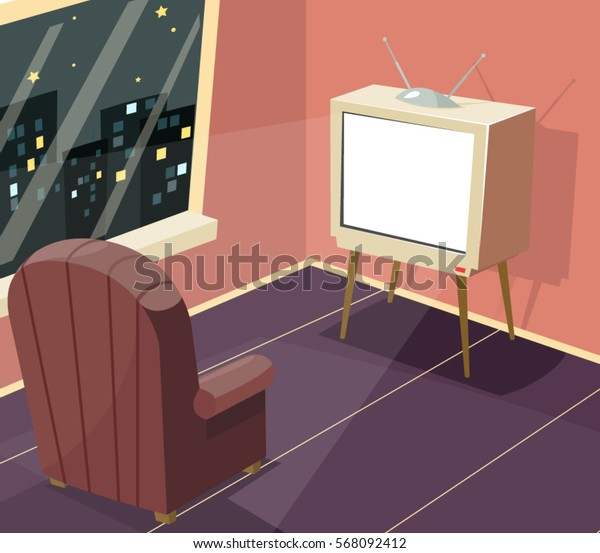 Armchair in front of TV Icon on Room Window Night City Background Cartoon Design Vector Illustration