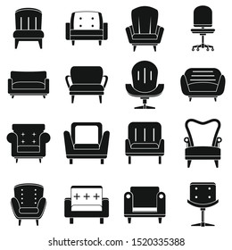 Armchair furniture icons set. Simple set of armchair furniture vector icons for web design on white background