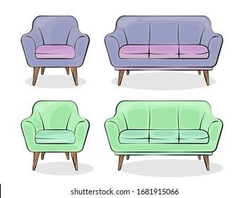 Armchair and sofa. Flat style. Vector illustration.