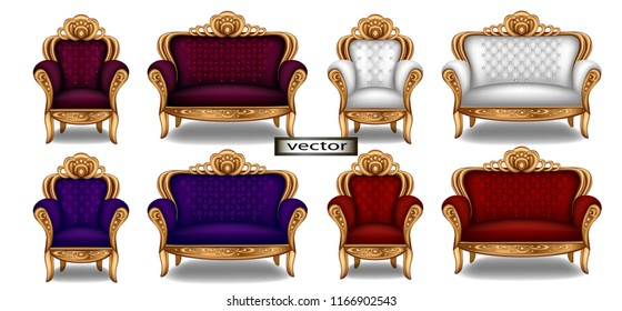 Armchair and sofa for the Palace in Baroque style, red, blue, white, purple expensive furniture for luxury, luxury interior. Vector illustration of the Royal setting for web design.