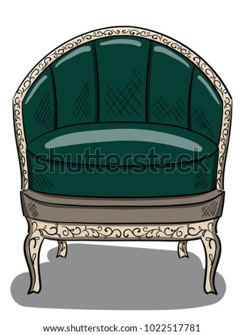 Armchair In The Style Of Art Nouveau With Dark Green Upholstery And Beige  Wood Details Eps