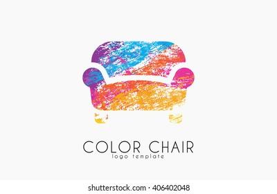 Armchair symbol. Chair logo design. Color chair
