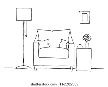 Armchair, table with a vase. Floor lamp. Hand drawn vector illustration of a sketch style.