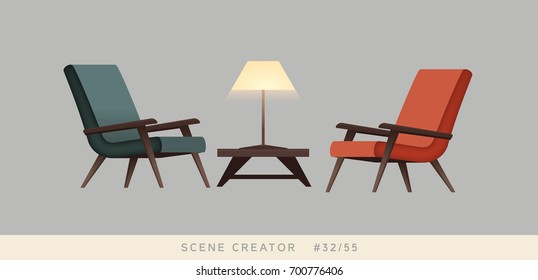 Armchairs, table, lamp. Isolated vector objects. Scene creator set.