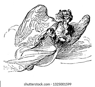 Armed angel prevents the Turks by entering in the city and arrested them at the wall and drive away from the city to the border of Persia, vintage line art illustration. Infernal Dictionary 1863.