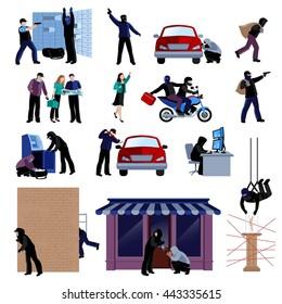 Armed burglars committing crimes flat icons set on white background isolated vector illustration