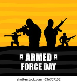 Armed Force Day. Suitable for banner, poster, greeting card, mug, shirt, template and print advertising. Vector Illustration