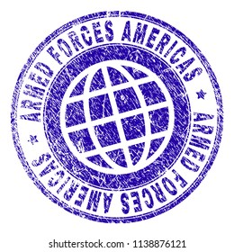 ARMED FORCES AMERICAS stamp print with grunge texture. Blue vector rubber seal print of ARMED FORCES AMERICAS title with corroded texture. Seal has words arranged by circle and globe symbol.