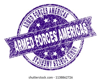 ARMED FORCES AMERICAS stamp seal watermark with grunge texture. Designed with ribbon and circles. Violet vector rubber print of ARMED FORCES AMERICAS title with grunge texture.