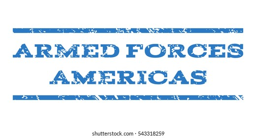 Armed Forces Americas watermark stamp. Text caption between horizontal parallel lines with grunge design style. Rubber seal stamp with dirty texture.