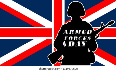 Armed Forces Day.UK Flag and army.celebration of Armed forces day England on Saturday 30 June 2018.Vector illustration for background,template,banner,brochoure,web ,design