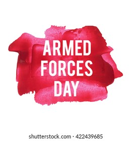 Armed Forces Day Holiday, celebration, card, poster, logo, lettering, words, text written on blue painted background vector illustration.