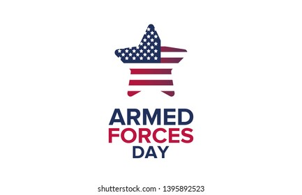 Armed Forces Day in May. Holiday celebrated annual in United States. Special tribute to the men and women of the Armed Forces. Poster, card, banner and background. Vector illustration