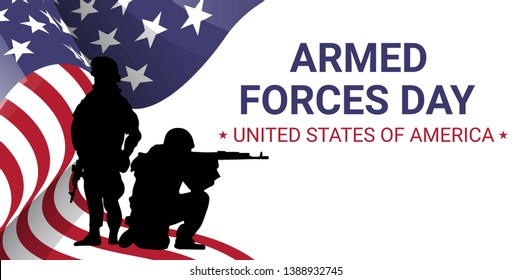Armed forces day  poster design with soldiers silhouettes and american flag. USA patriotic illustration