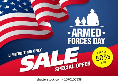 armed forces day sale banner layout design