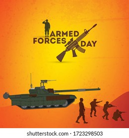 Armed forces day template poster design. Typographical name and soldiers in attacking mode concept.