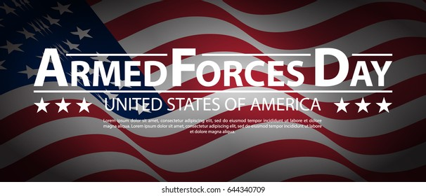 Armed forces day template poster design. Armed Forces Day USA holiday vertical US Army flag banner. Vector illustration of background for Armed forces day.