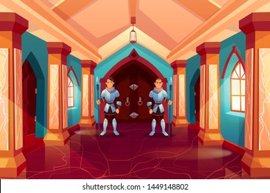 Armed guards in knight armor stand near forged wooden door in castle corridor protecting king apartment, medieval palace interior, hallway with pillars and marble floor, Cartoon vector Illustration