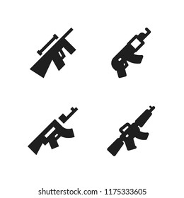 armed icon. 4 armed vector icons set. sniper and rifle icons for web and design about armed theme