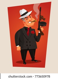 Armed mafia boss character. Vector cartoon illustration