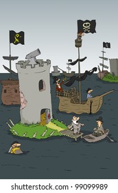 Armed pirate stronghold full of gold coins